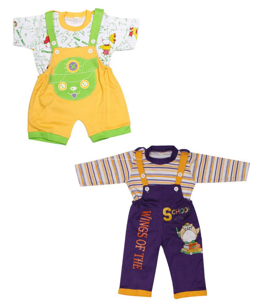 Babeezworld Multicolour Baby Romper baby dungaree - Set Of 2
