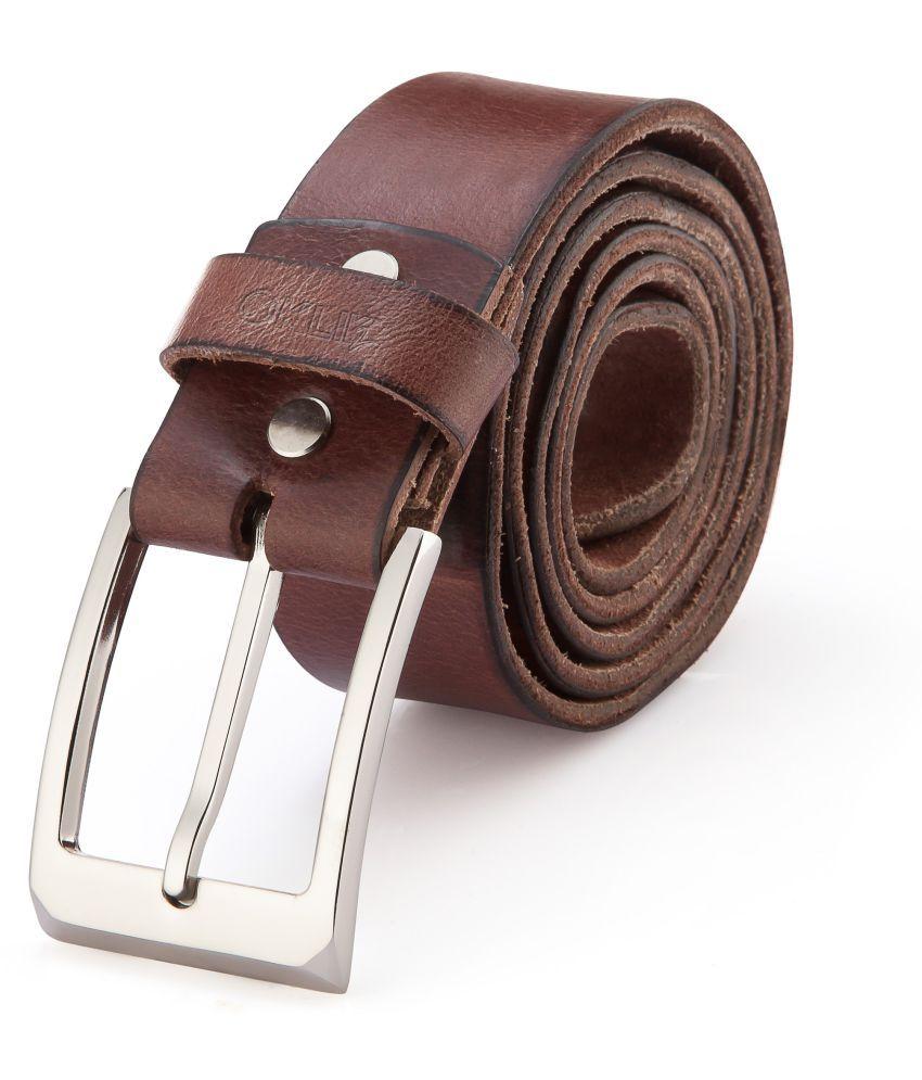 Klik2 Brown Leather Casual Belts