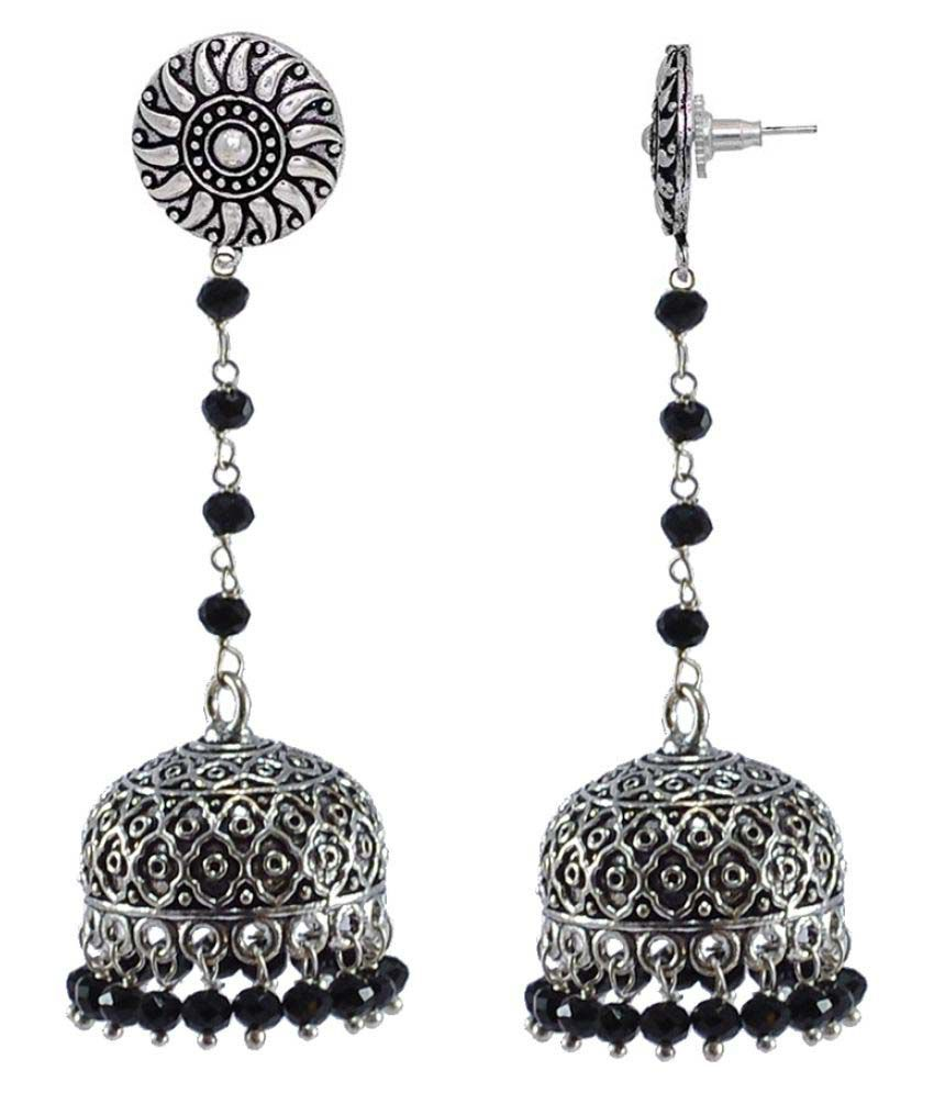 Silvesto India Black Crystal Beads With Round Jhumki Earrings Indian Jewellery PG-32726