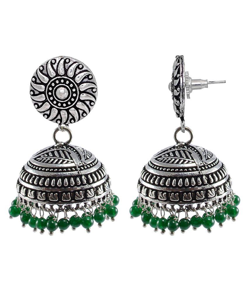 Silvesto India Jaipuri Jhumki Earrings With Green Beads PG-32605