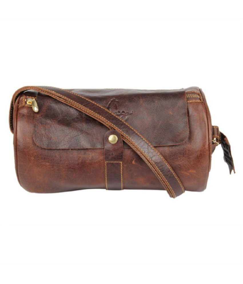 a11925851 Pingooz Brown Pure Leather Sling Bag - Buy Pingooz Brown Pure Leather Sling  Bag Online at Best Prices in India on Snapdeal
