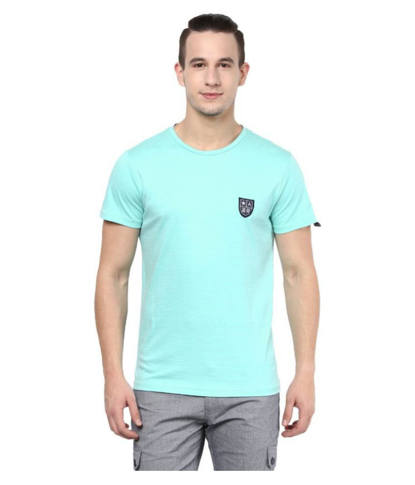 Atorse Turquoise Round T-Shirt