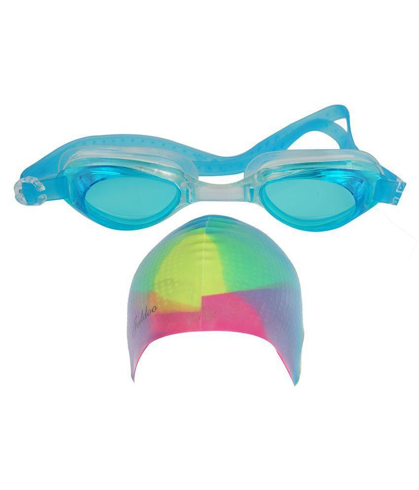 Aarushi Multicolor Silicon Swimming Cap with Goggle/ Swimming Costume