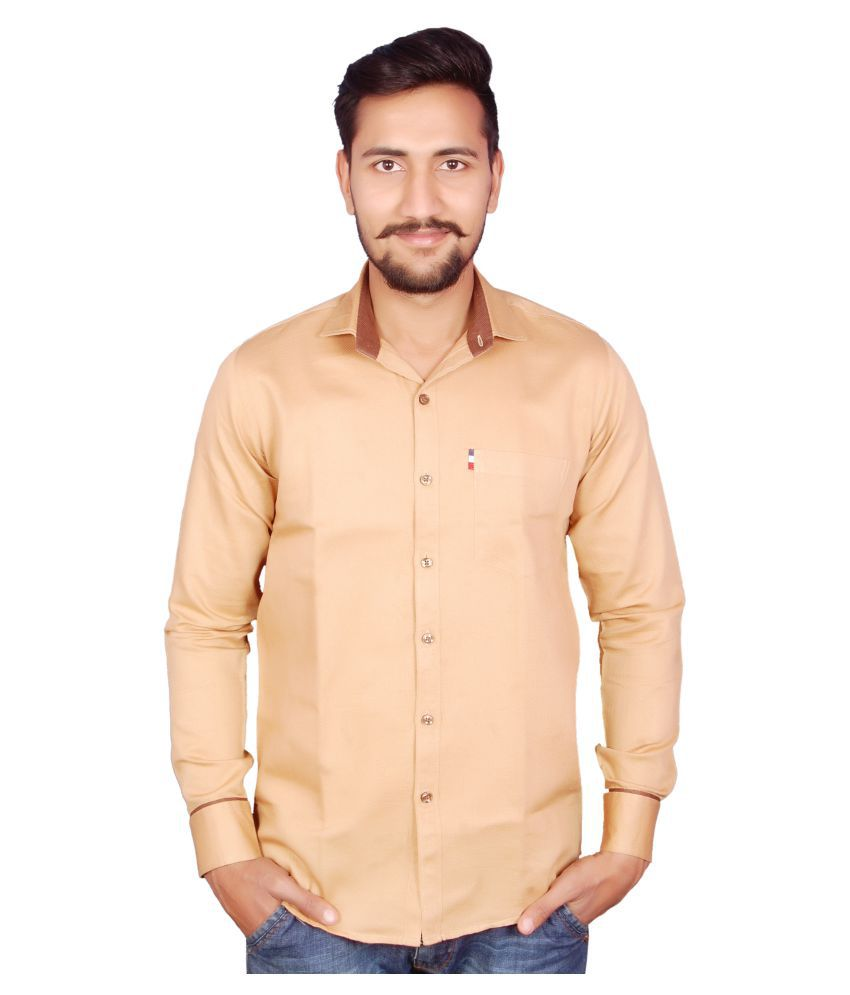 Riwas Collection Brown Casuals Slim Fit Shirt