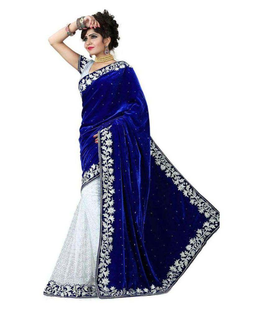 modi vastra blue velvet saree buy modi vastra blue velvet saree