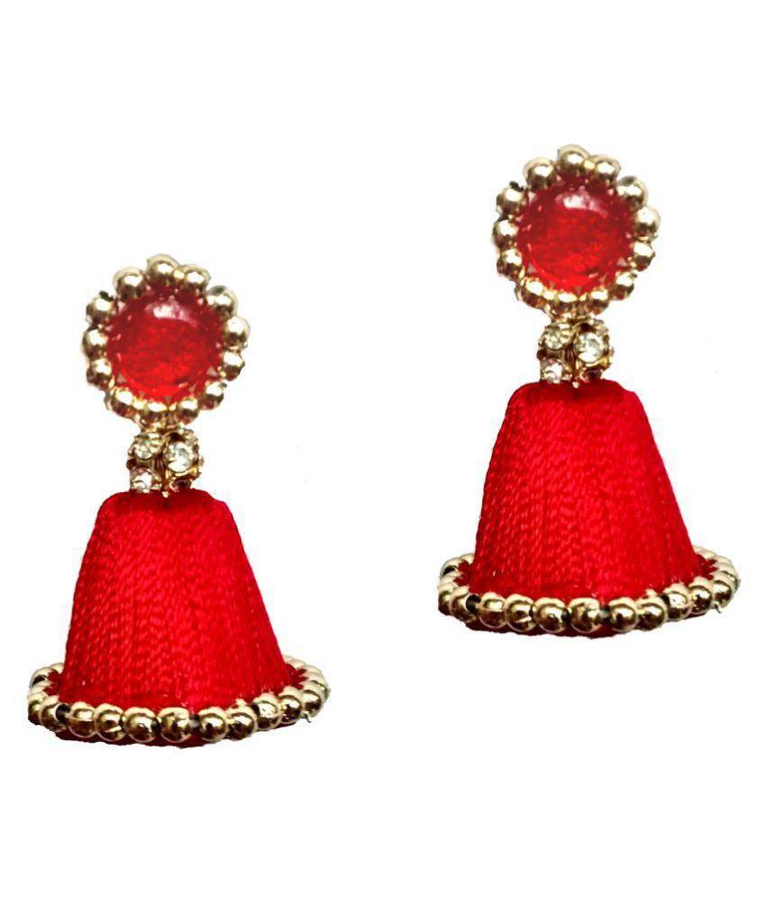 Shrungarika Red Jhumki Earrings