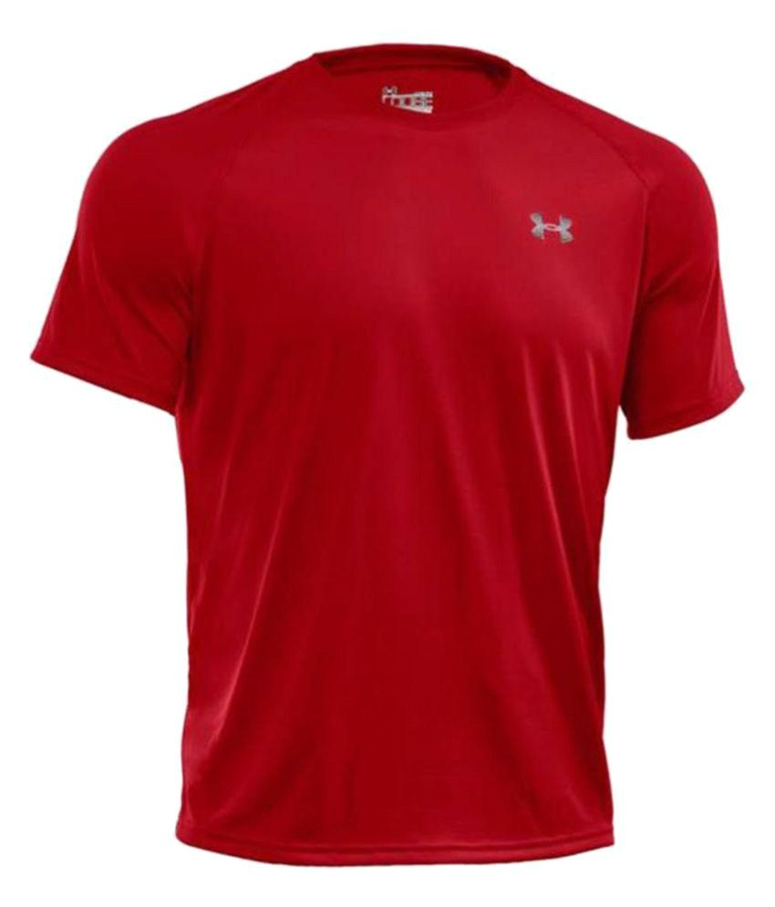 Under Armour Red Polyester T Shirt