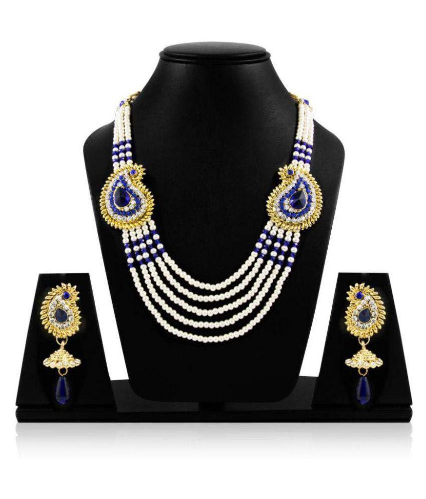 Jewels Gehna American Diamond Gold Plated Designer Wedding Necklace Set