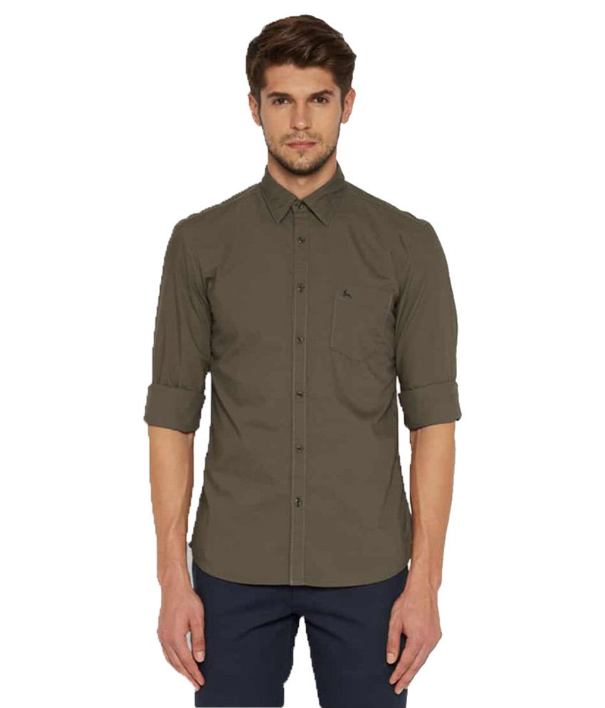 Parx Brown Casuals Slim Fit Shirt