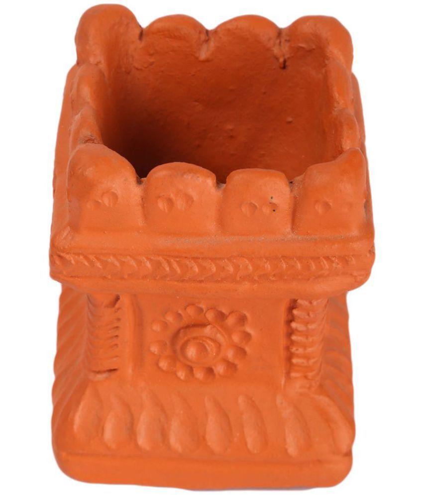 Village Décor Brown Terracotta Pen Stand