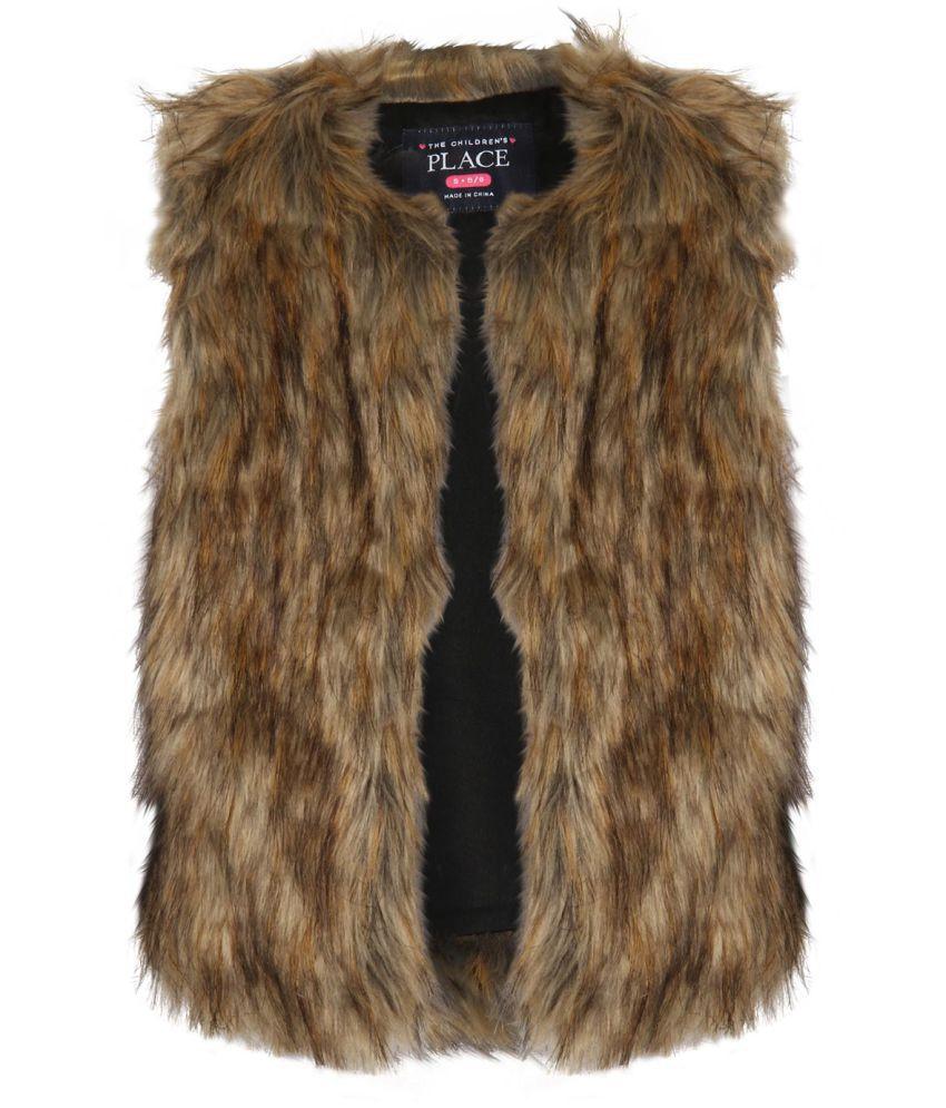 The Childrens Place Girls Brown Faux-Fur Vest