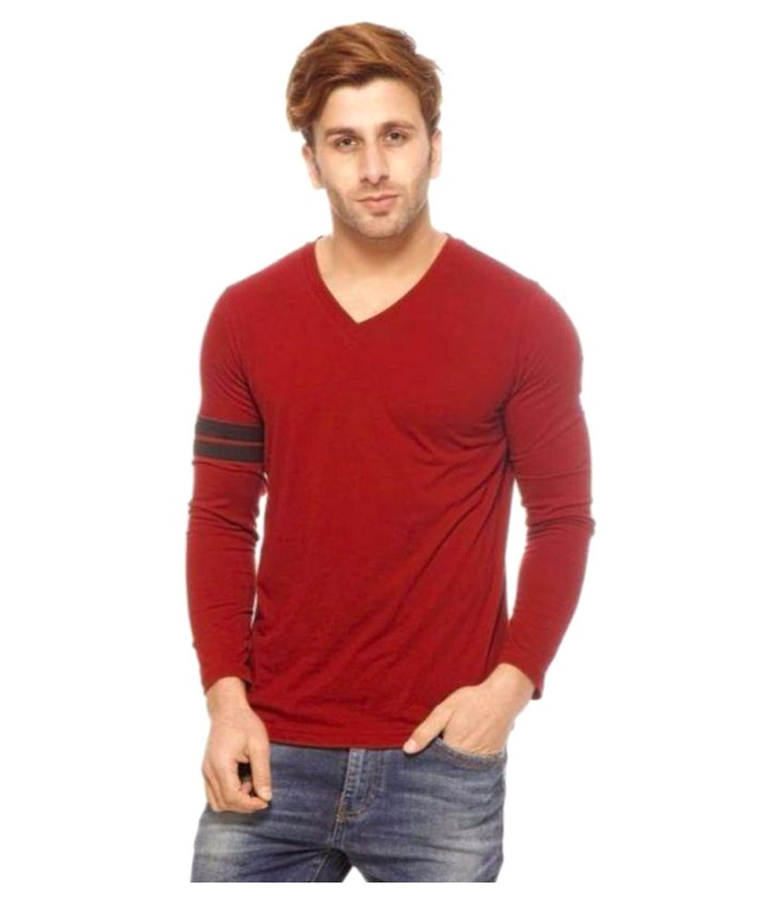 Youngtrendz Maroon V-Neck T-Shirt