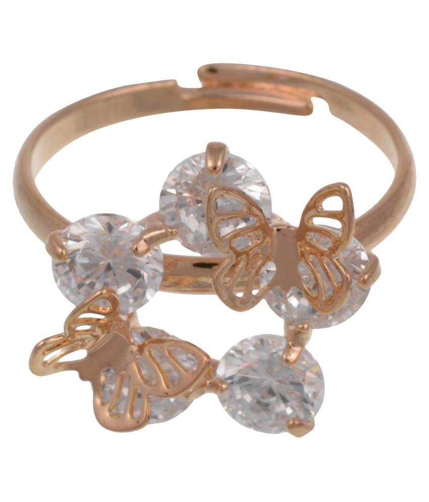 High Trendz Gold Plated Trendy Elegant Cz Diamond Ring