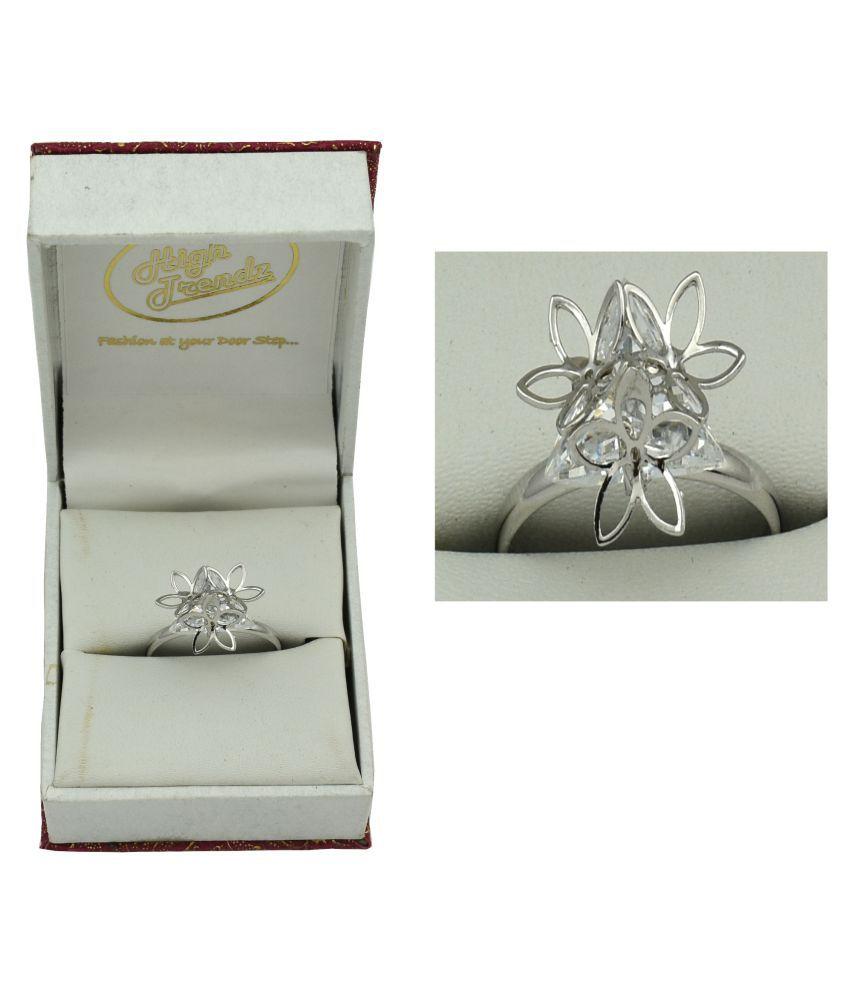 High Trendz Platinum Plated Trendy Elegant CZ Diamond Adjustable Ring