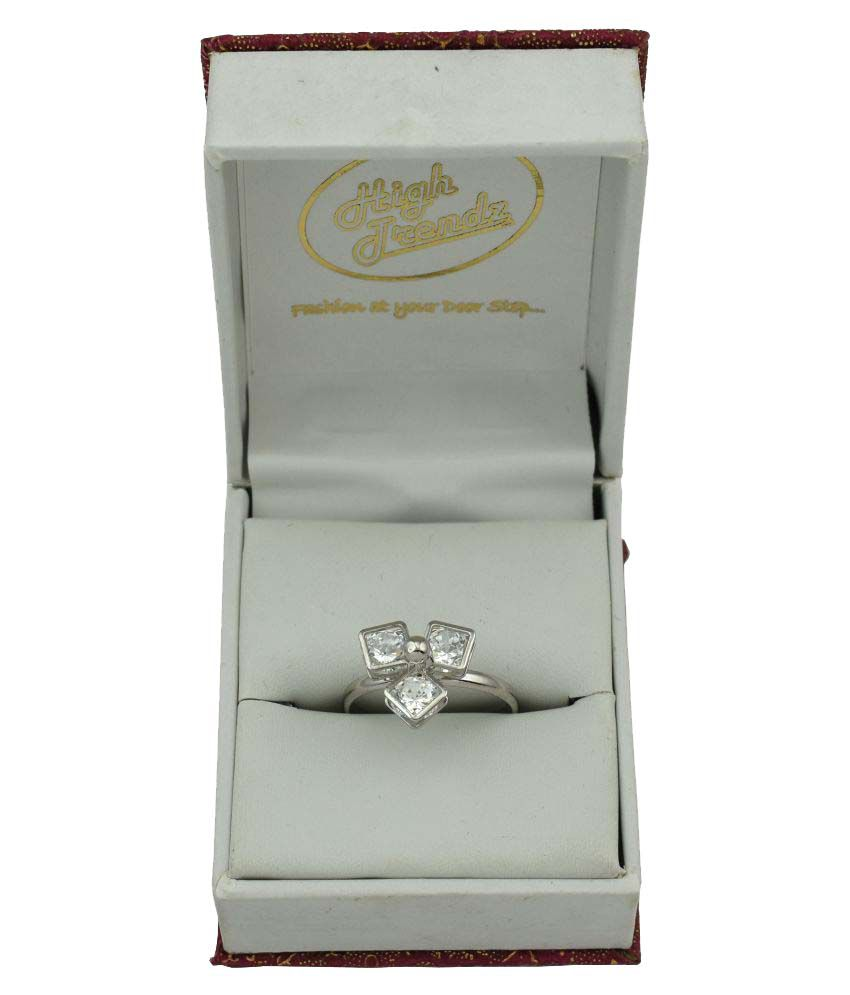 High Trendz Silver Platinum Plated Trendy Elegant Cz Diamond Adjustable Ring