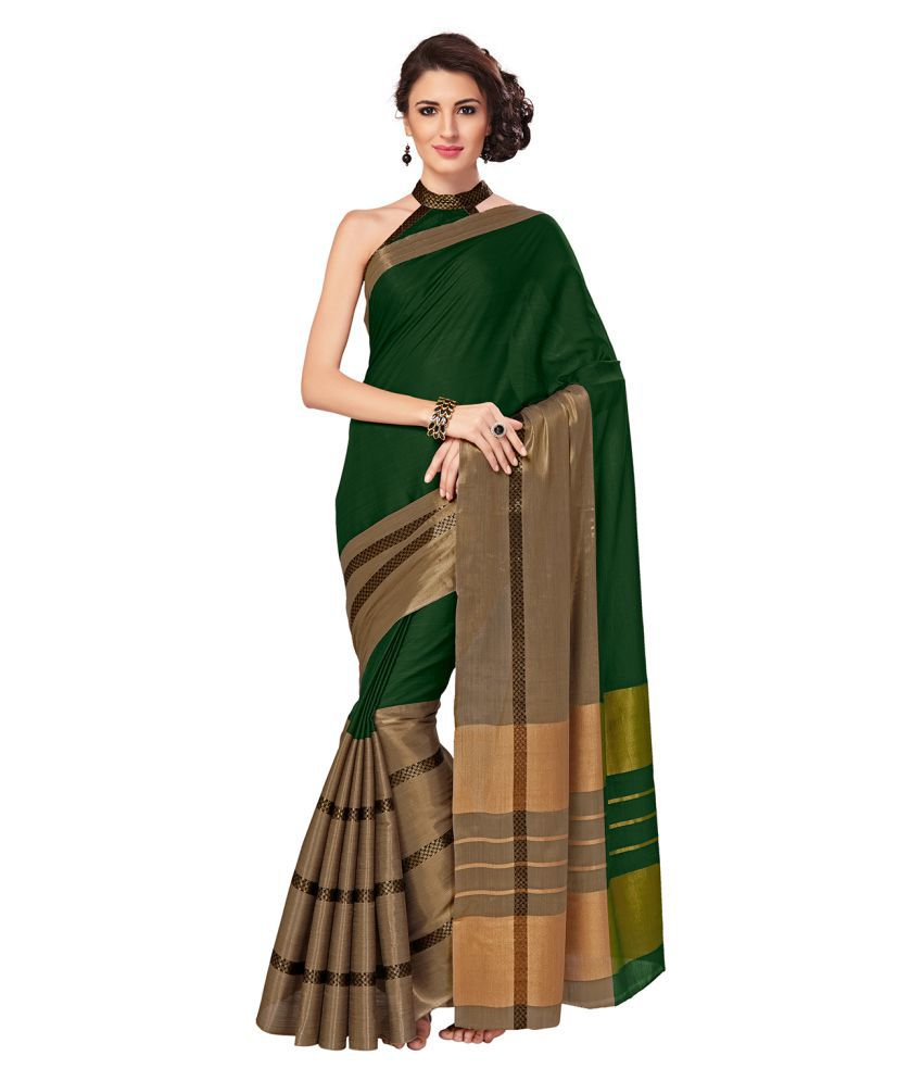 Sp Aura Green and Brown Cotton Blend Saree