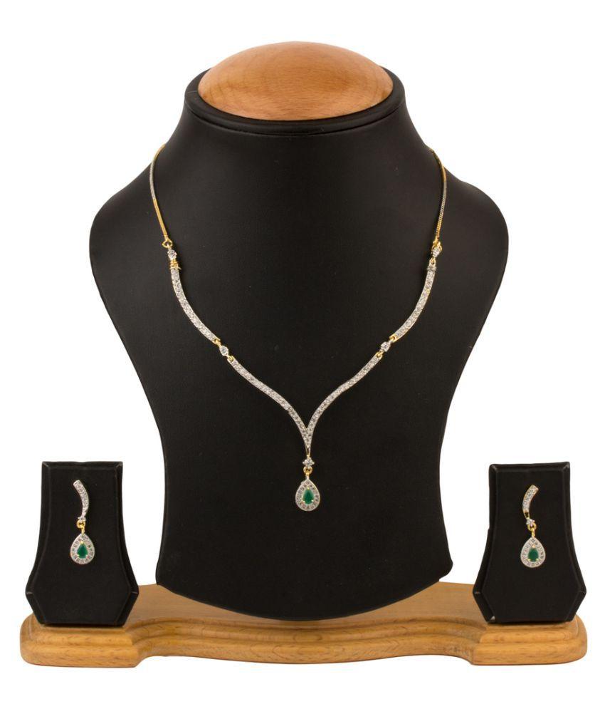 Zevar Green Multicolour Necklace Set