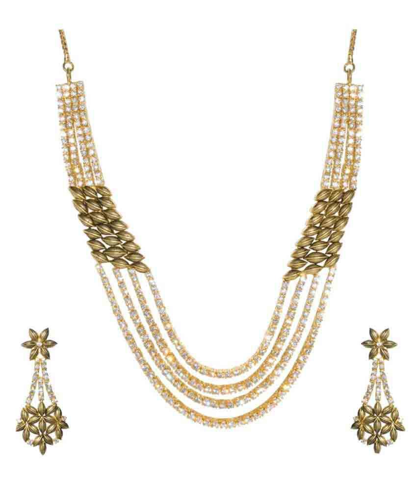 Jewellerkaka Multiline American Diamond Necklace Set