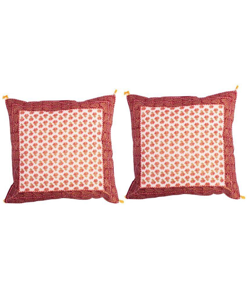 Shilpbazaar Set of 2 Cotton Cushion Covers 40X40 cm (16X16)