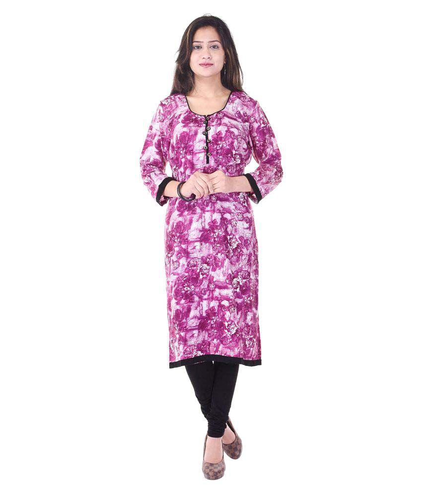 Veera Paridhaan Pink Rayon Straight Kurti