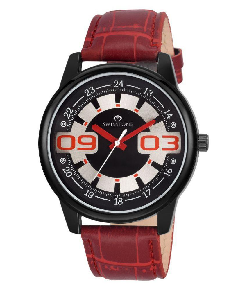 Swisstone ftrek049-bk-red Leather Analog Men's Watch