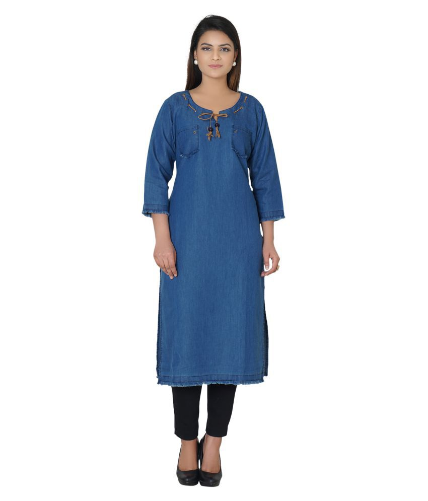 Anand Suit Collection Blue Cotton Straight Kurti