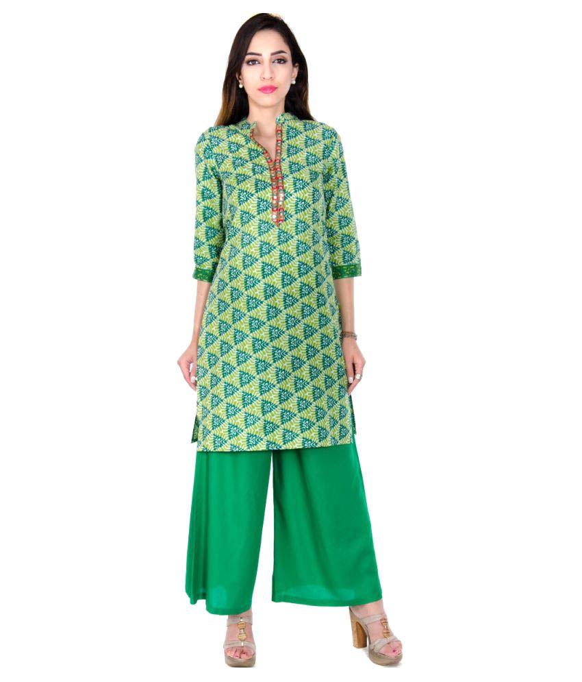 Teej Fashion Multicoloured Cotton Straight Kurti