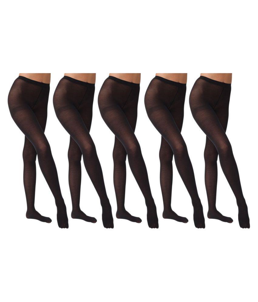 Gold Dust Long Comfort Black Hose Stocking - Set of 5