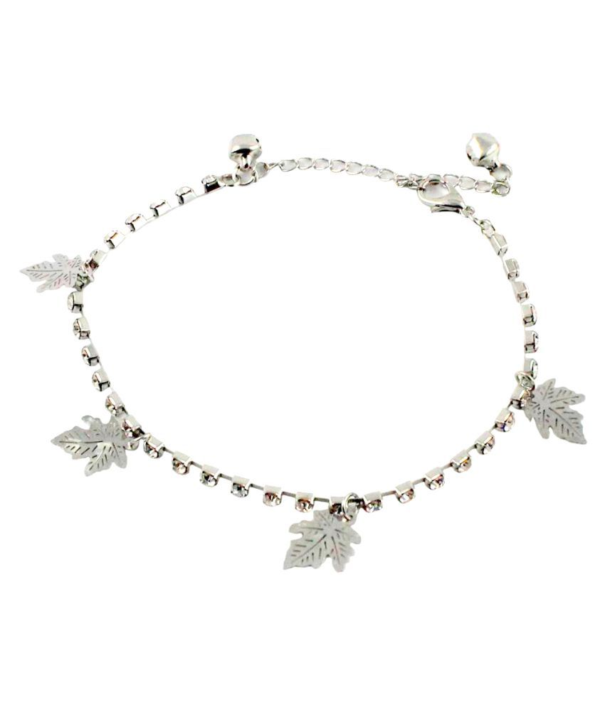 Wise Pebbles Leaf and Stone Silver Anklet for Women