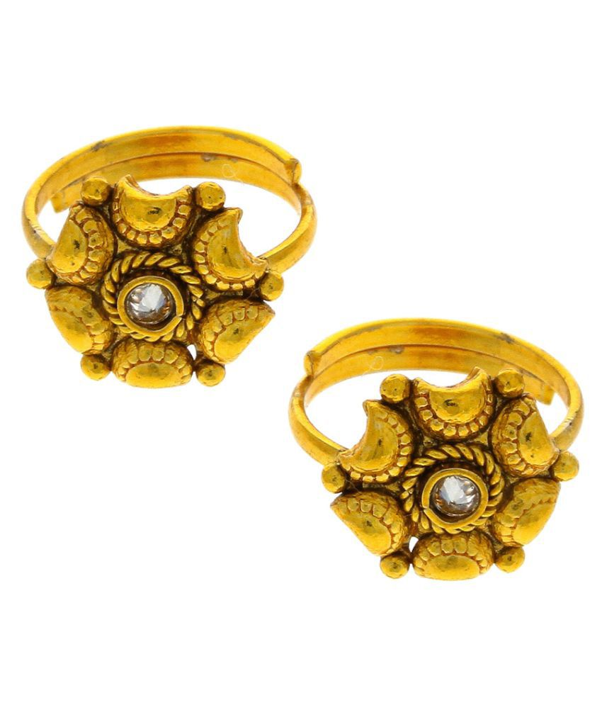 Anuradha Art Golden Finish Dazzling Designer Sparkling Stone Traditional Toe-Rings