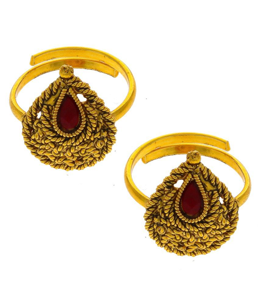 Anuradha Art Golden Finish Styled Classy Droplet Shape Traditional Toe-Rings For Women