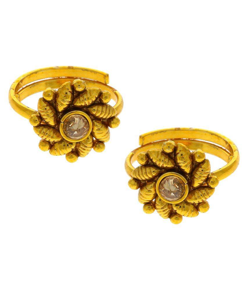 Anuradha Art Golden Tone Classy Shimmering Stone Designer Traditional Toe-Rings For Women