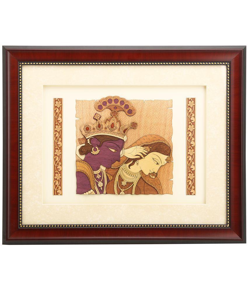 Shivika Enterprises Natural Wood 2d & 3d View Radha Krishna Painting (33x40x2 cm, Brown)