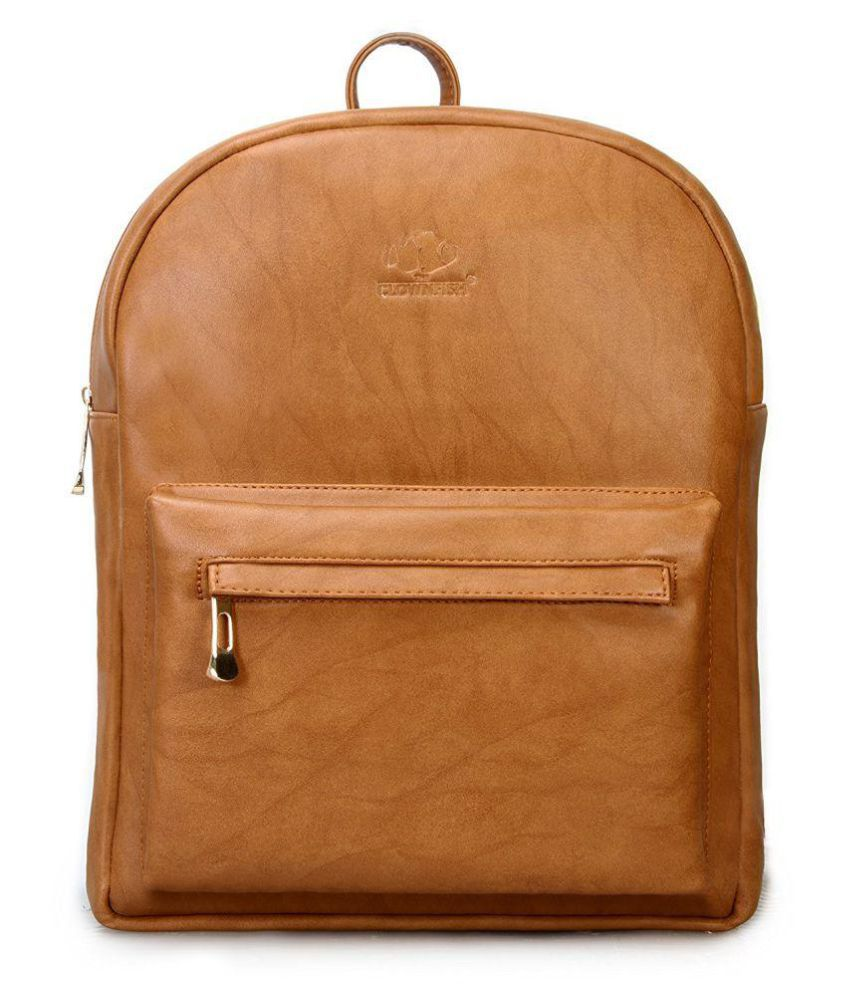The Clownfish Brown Faux Leather Backpack