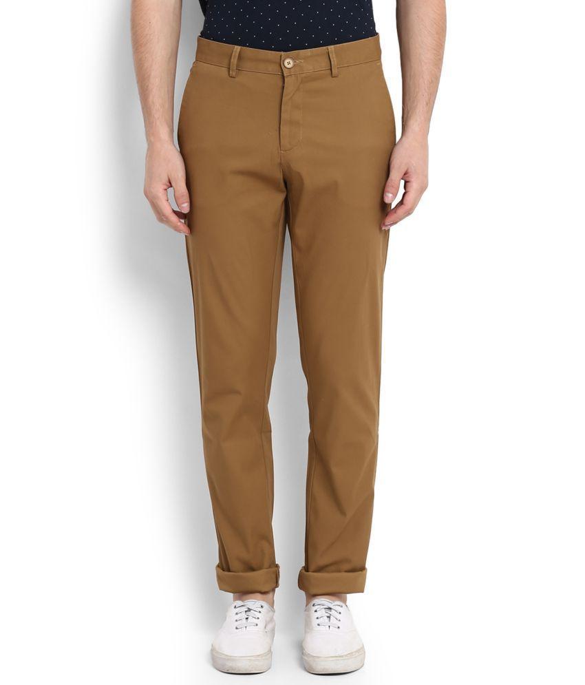 Allen Solly Brown Regular Flat Trousers
