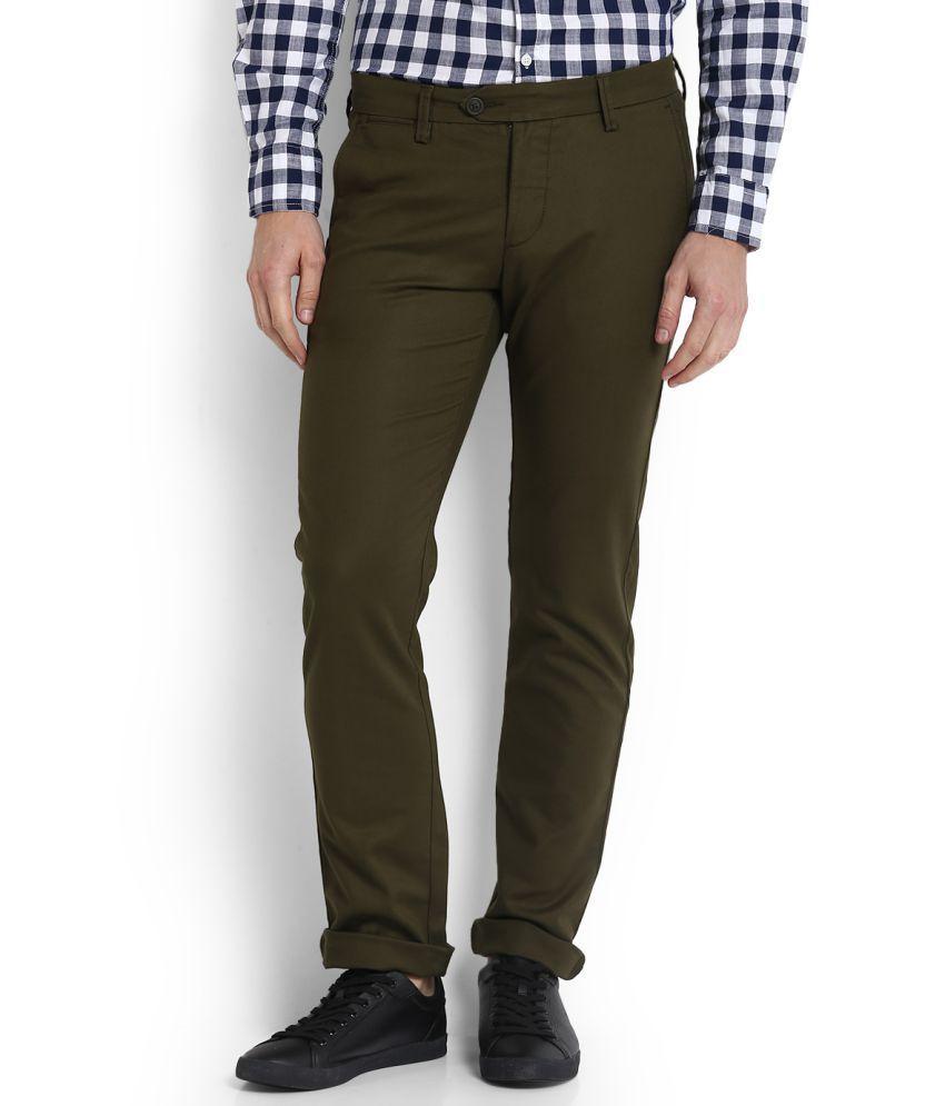 Allen Solly Green Slim Flat Trousers