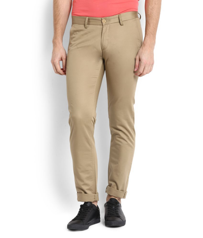 Allen Solly Khaki Regular Flat Trousers