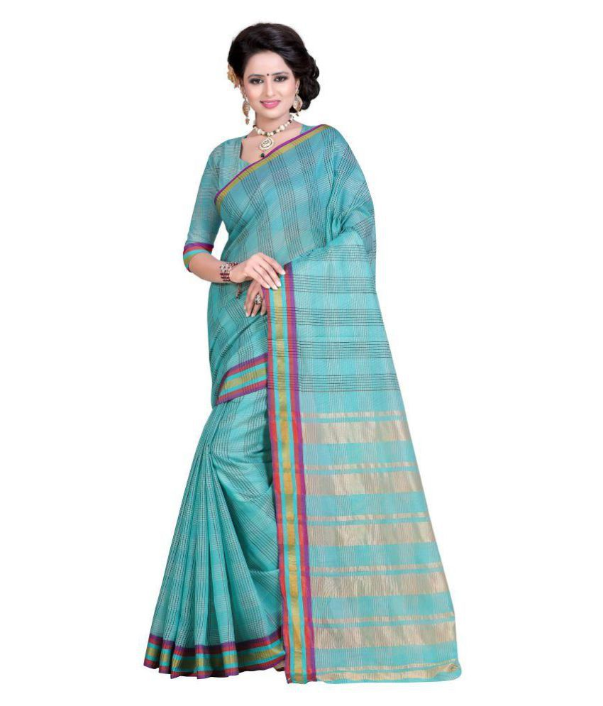 London beauty Blue Polycotton Saree