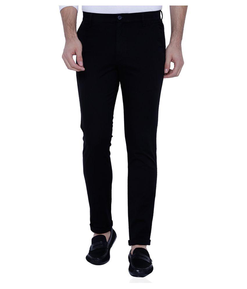 Highlander Black Slim Flat Trousers
