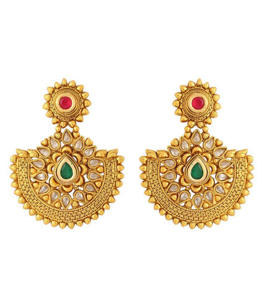 Voylla Golden Traditional Designed Earrings