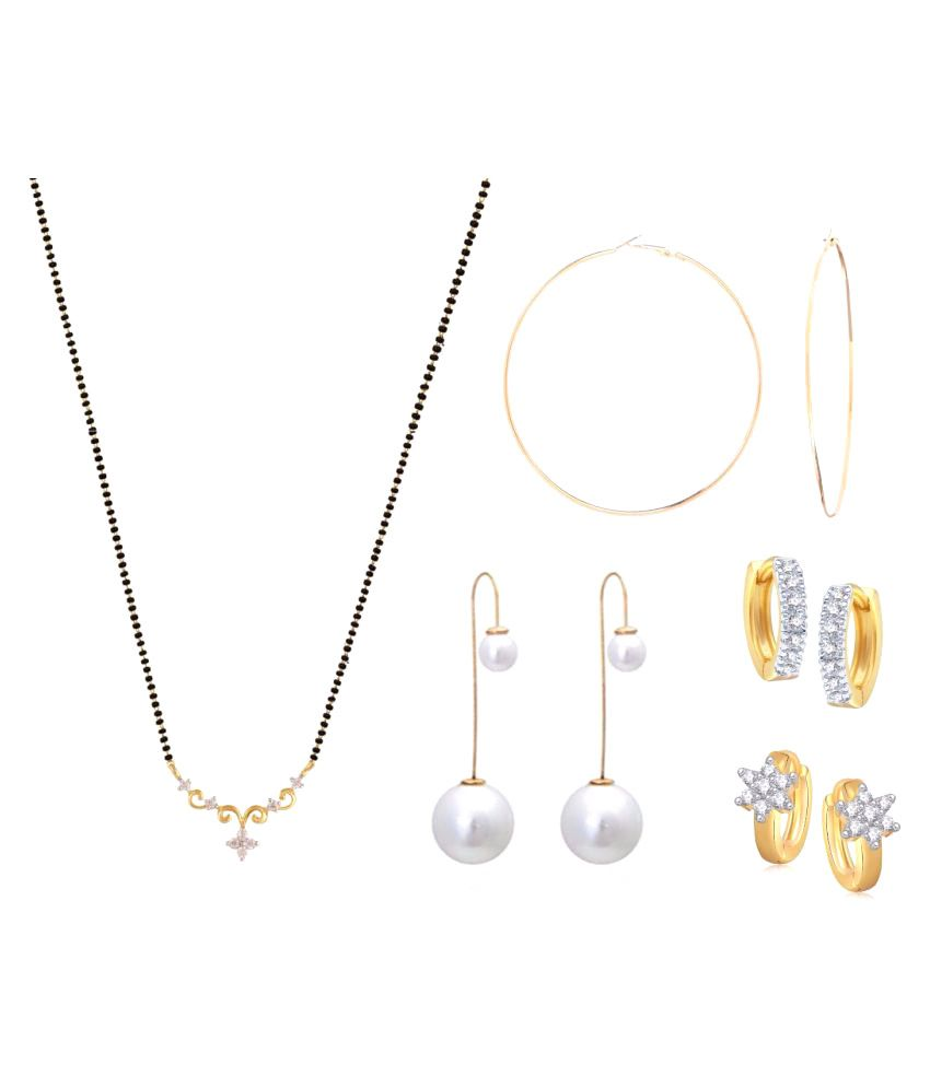 Archi Collection Combo of 1 Mangalsutra With 4 Pair of Trendy Earrings For Women