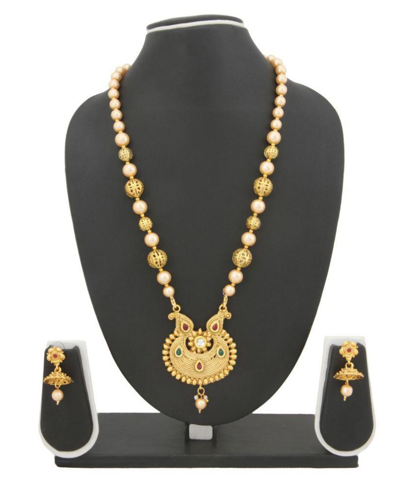 Adoreva Golden Plated Alloy Pearl Necklace Earrings Set for Women