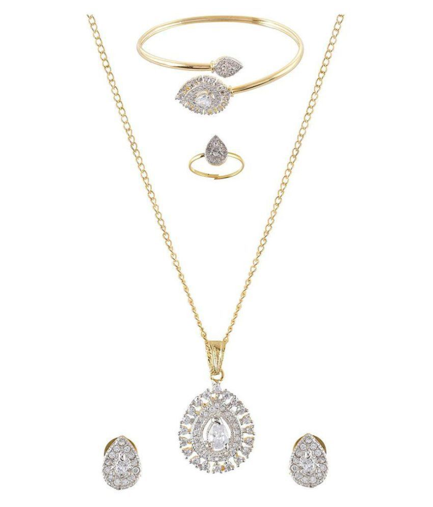 My DT Lifestyle American Diamond Gold Metal Full Jewellery Set Combo Ajfs7