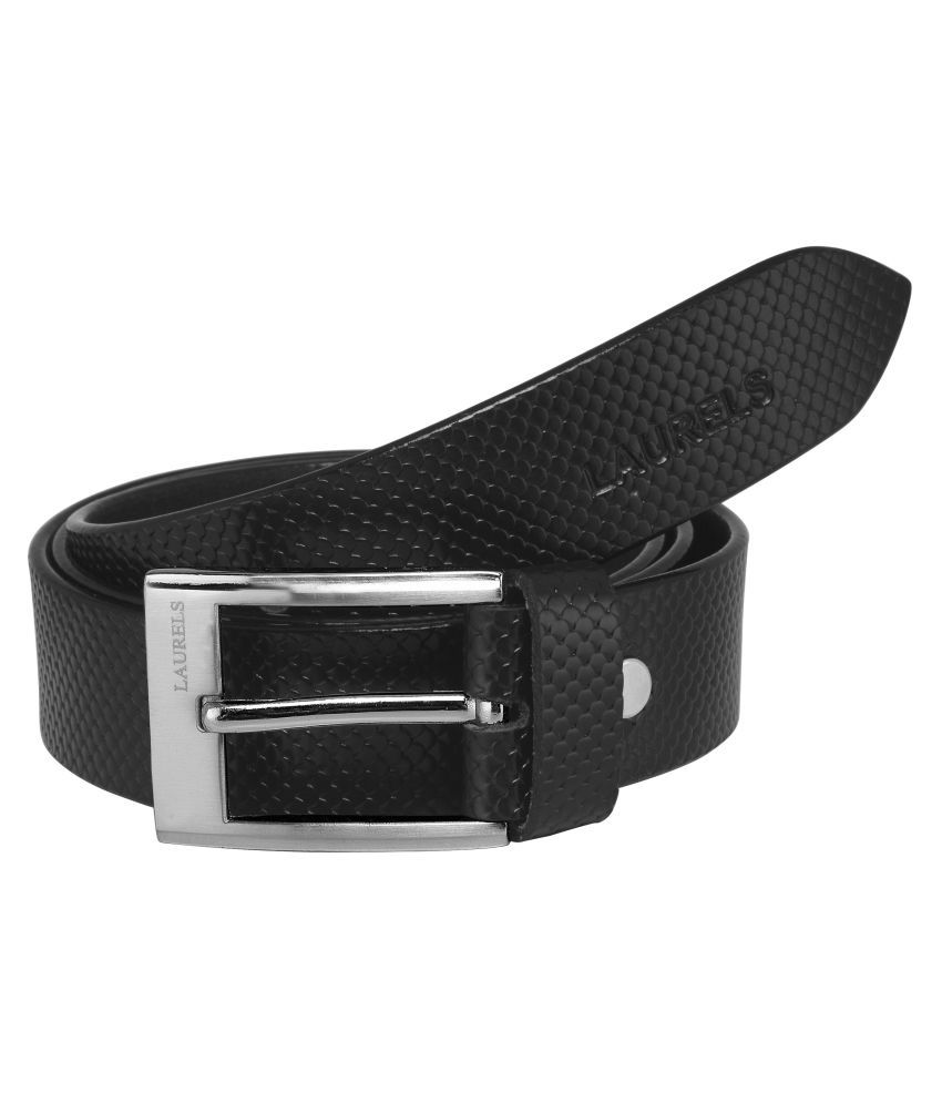 Laurels Black Leather Casual Belts