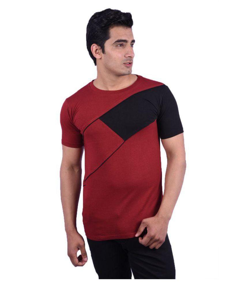 Rap Fabrics Maroon Round T-Shirt