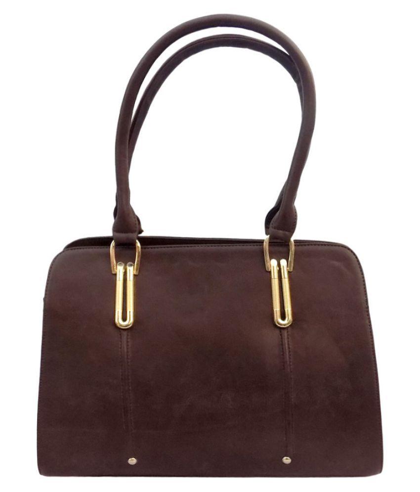 AroseFashion Brown Faux Leather Handheld