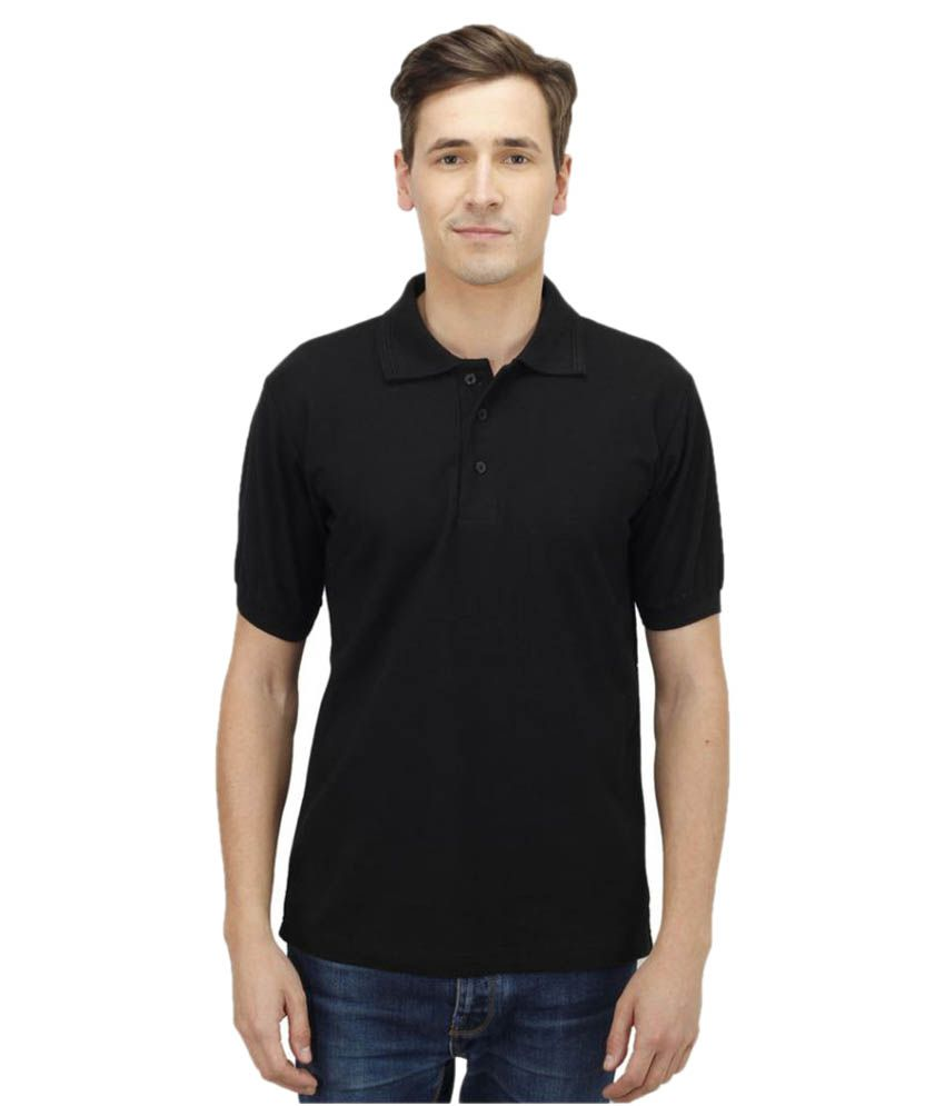 Haltung Black Cotton Polo T-shirt