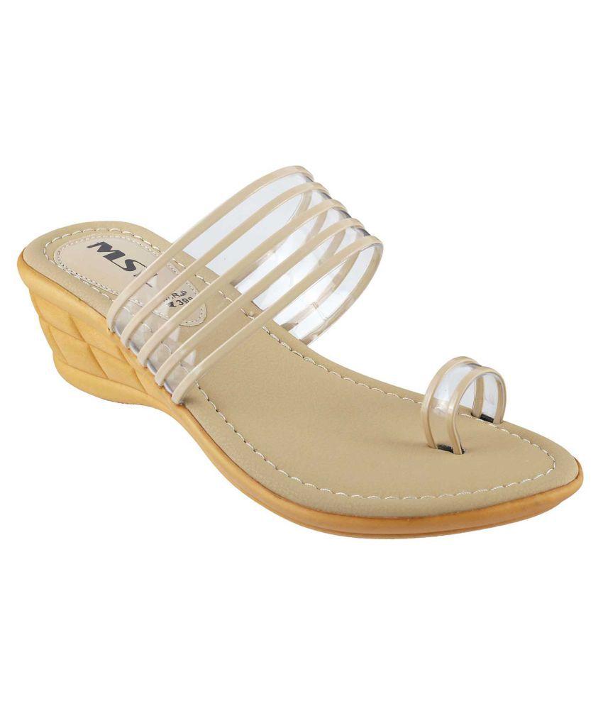 MSL Beige Wedges Heels