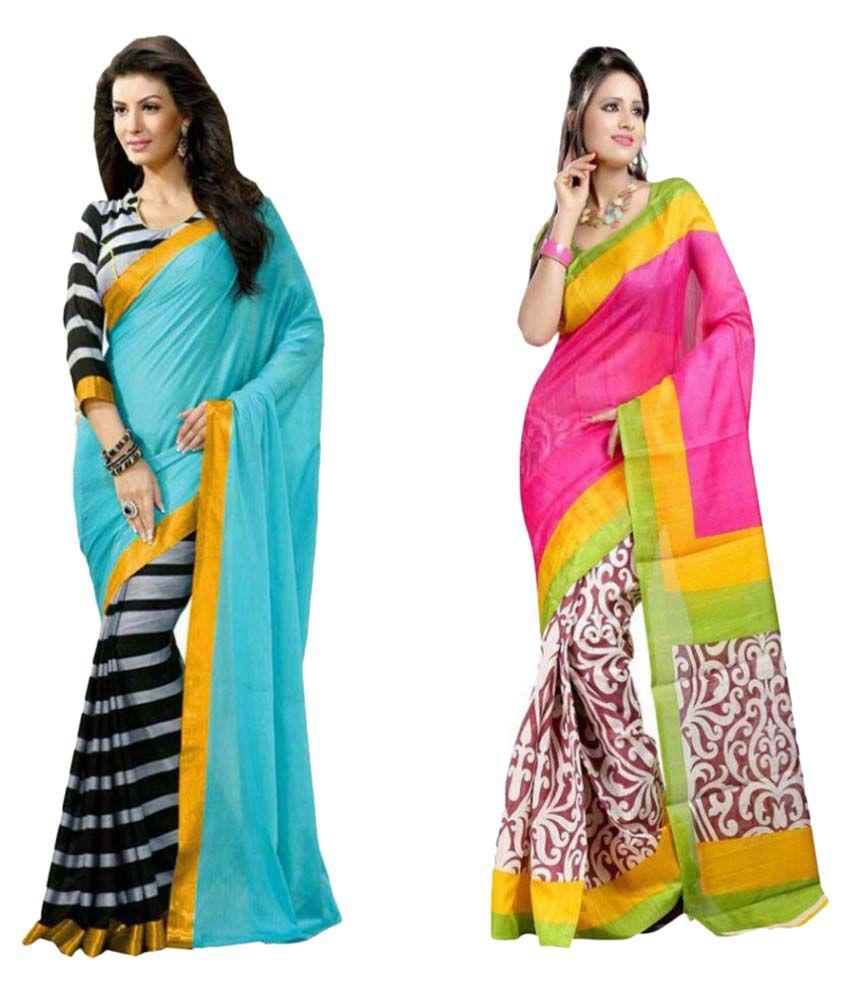 Eshwari Creation Multicoloured Bhagalpuri Cotton Saree Combos