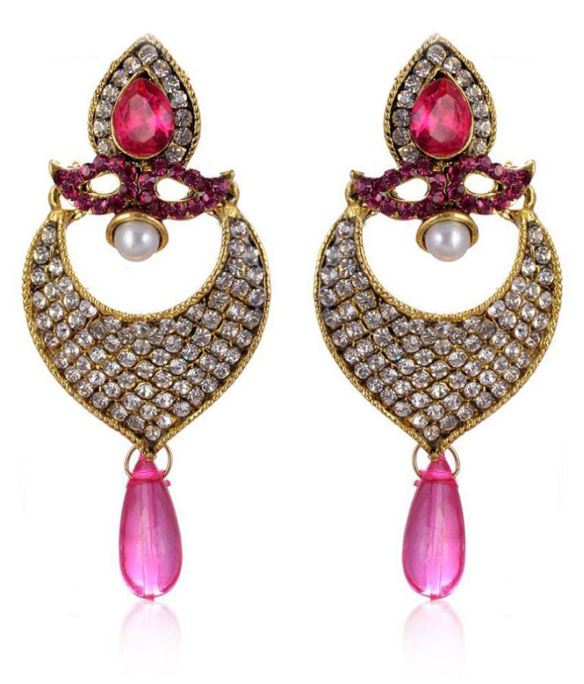 Jewels Capital Exclusive Golden White Multi Colour Earrings